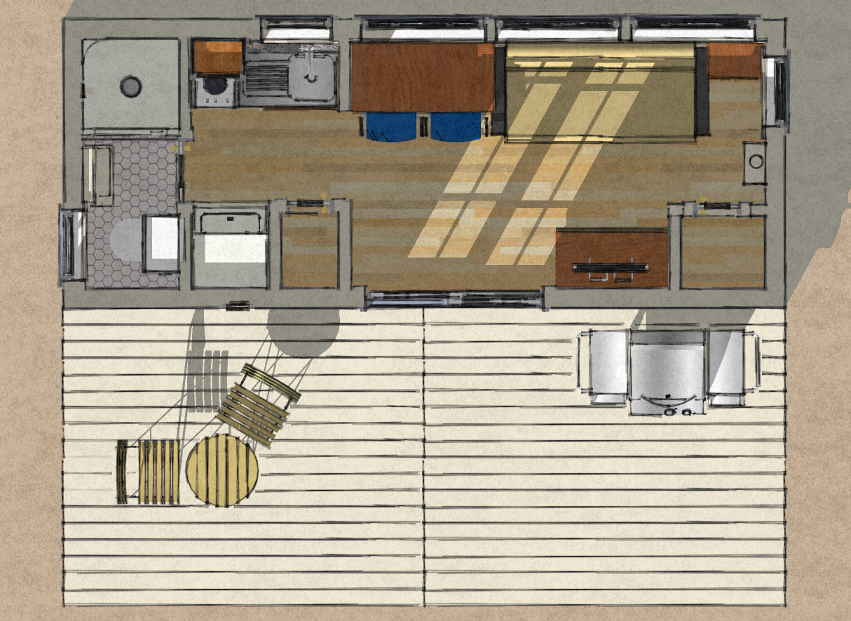 Floor Plan For An 8u0027 X 20u0027, 160 Square Foot Shipping Container Home With An  8u0027 X 20u0027 Deck.