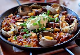 Paella del Dia with Spanish Bomba Rice at Zuzu in Napa, CA - Photo by Taste As You Go