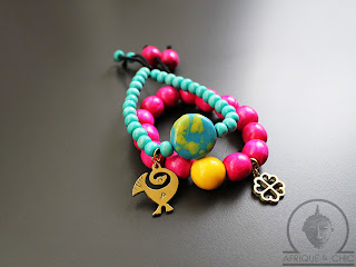 african wood beaded sankofa bracelets