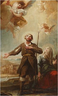 En la Imagen San Isidro y Santa Maria de la Cabeza. Sobre ellos los angeles.