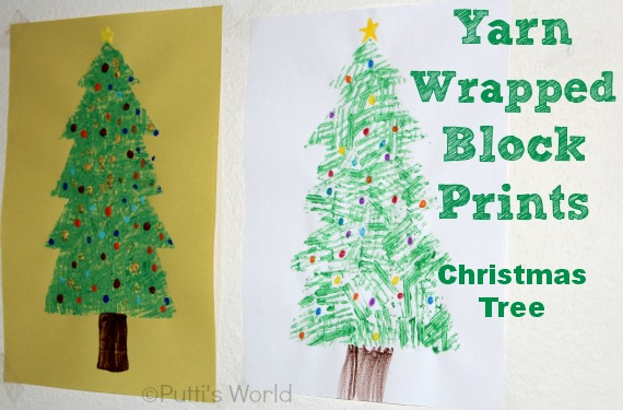 Yarn stamped christmas tree kids crafts
