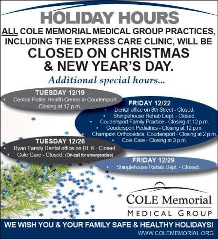 Holiday Hours Cole Medical Group