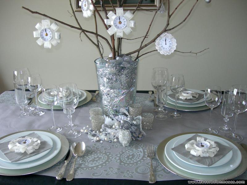 Decoracion de mesas mesa nochevieja en plateados - Decoracion mesa nochevieja ...