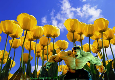 The Incredible Hulk Desktop Wallpapers Hulk Raging Fury Monster in Tulips Flowers Field wallpaper