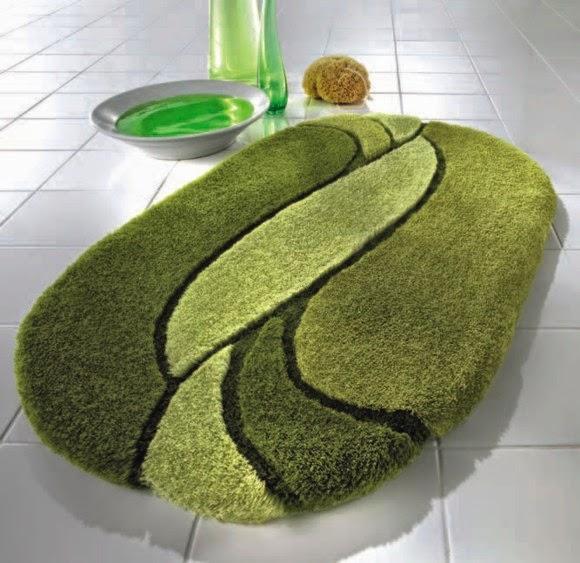 Modern green bath rugs