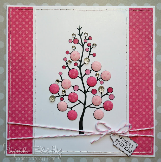 Modern Christmas card in pink using Bubble Tree stamp