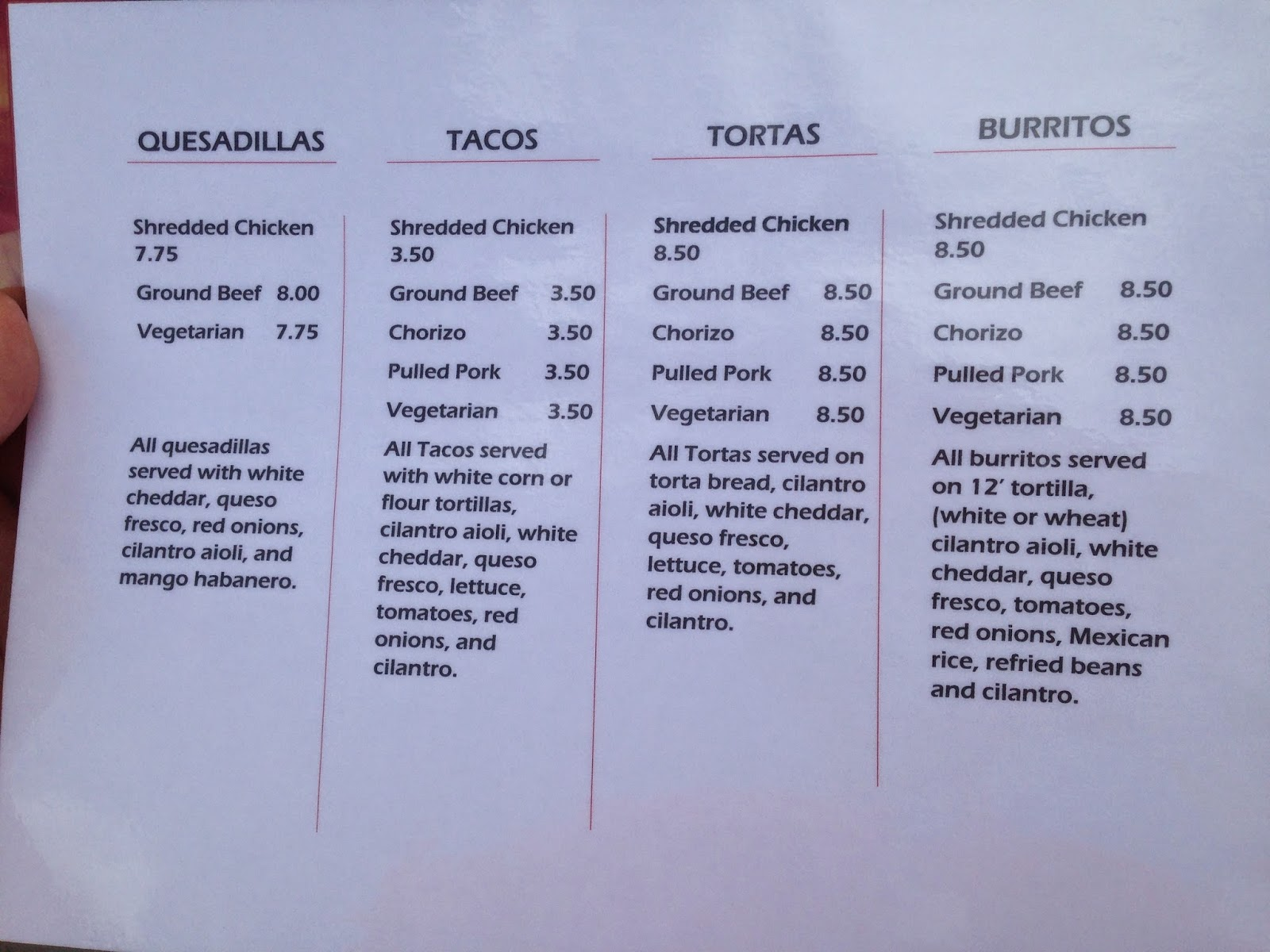 Los Tacos Hermanos Menu, Houston Texas