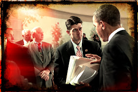Paul Ryan hands papers to Pres. Obama