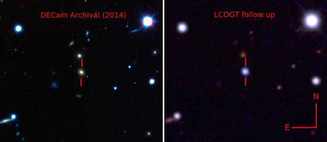 Pseudo-color images showing the host galaxy before the explosion of ASASSN-15lh taken by the Dark Energy Camera (DECam) [Left], and the supernova by the Las Cumbres Observatory Global Telescope Network (LCOGT) 1-meter telescope network [Right]. Credit: The Dark Energy Survey, B. Shappee and the ASAS-SN team