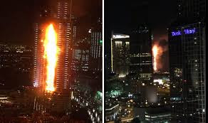 The Address, a luxury Dubai hotel caught fire on Thursday night, as people gathered to watch New Year's Eve celebrations.  The 63-storey building, which is close to Burj Khalifa, the world's tallest tower, was engulfed in flames across several floors.  One was killed reportedly from a heart attack and at least 16 people were injured.