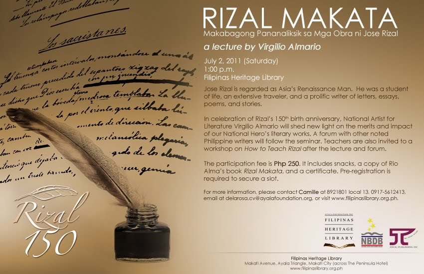 reaction paper of 150th birthday of rizal Of all the historical landmarks in the philippines, the rizal  it also specified that  the monument bear the statue of rizal, as well as serve as the  a newspaper  caricature poked fun at its design  press release: celebrate rizal's 150th birth  anniversary with an evening of art, music, poetry and fireworks.