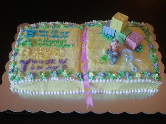 Open Book Baby Shower Cake
