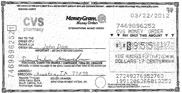 international money orders:
