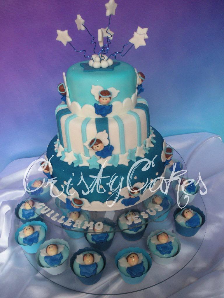Cristy's Cakes: Angelitos Azules para un Bautizo