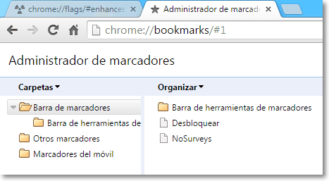 Cómo desactivar los nuevos marcadores de Chrome.