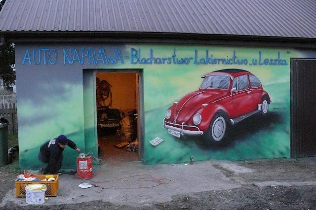 Malowanie Vw garbusa na ścianie, mural ścienny 3D, Bydgoszcz