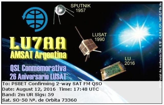 Confirmação de LU7AA - e-QSL