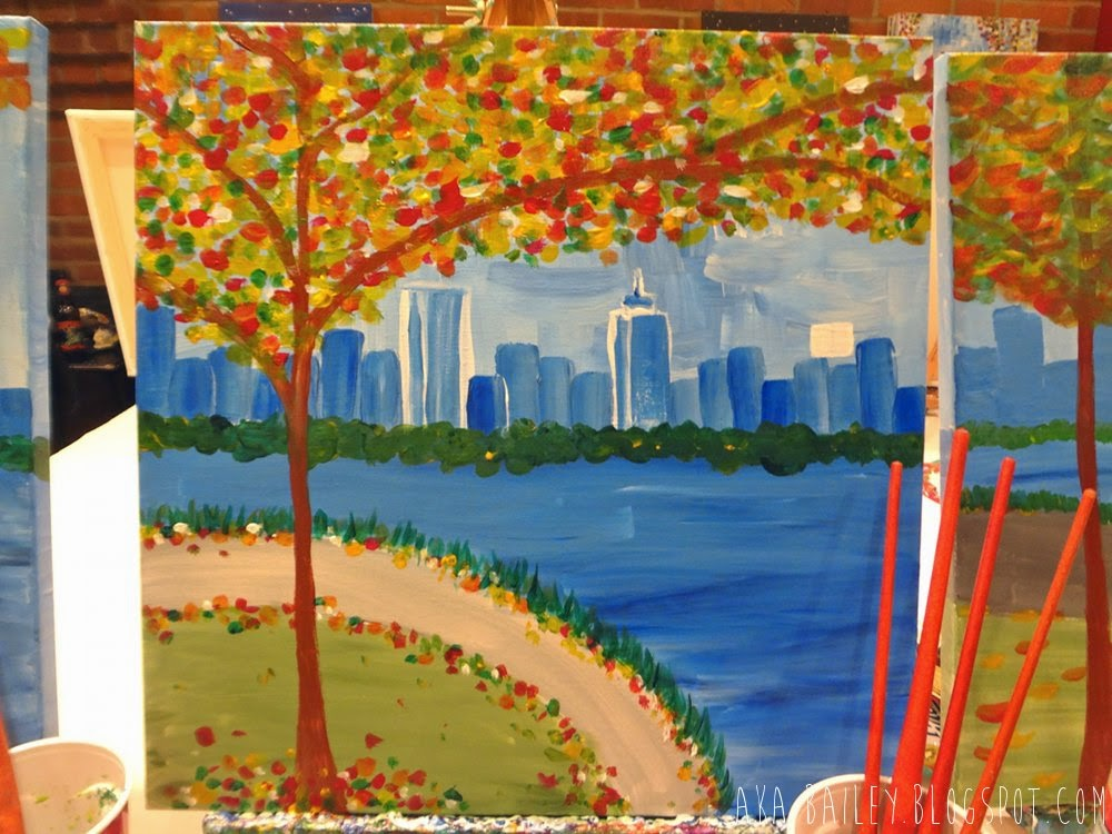 Autumnal tree scene next to the Charles River, Boston, painting