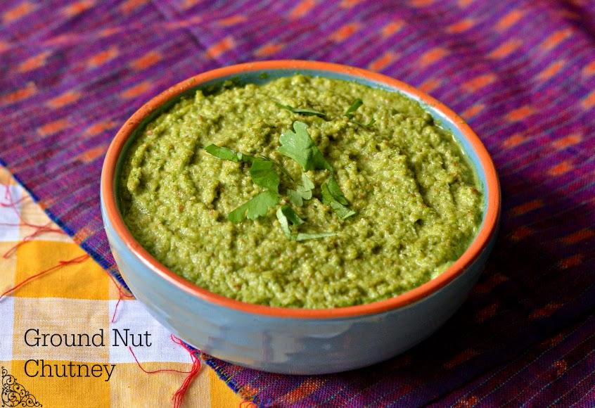 peanut coriander chutney :: no oil groundnut chutney :: shengdana dhaniya chutney