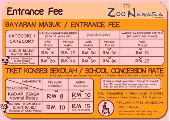 Harga Tiket Masuk Zoo Negara