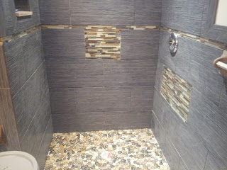 Tiling Bathroom Floor on Glass Tile  River Stone And Porcelain Tile Shower Installed In Margate