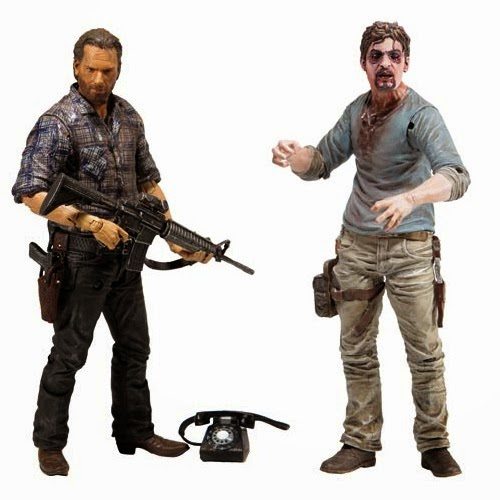 The Walking Dead Television Series 7.5 Action Figures by McFarlane Toys - Woodbury Assault Rick Grimes & Flu Walker