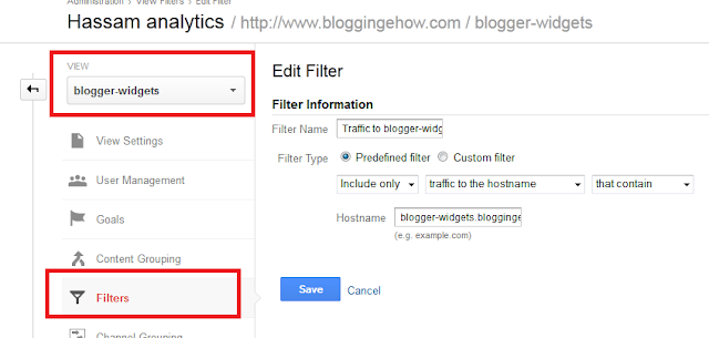 creating filters for subdomains in analytics