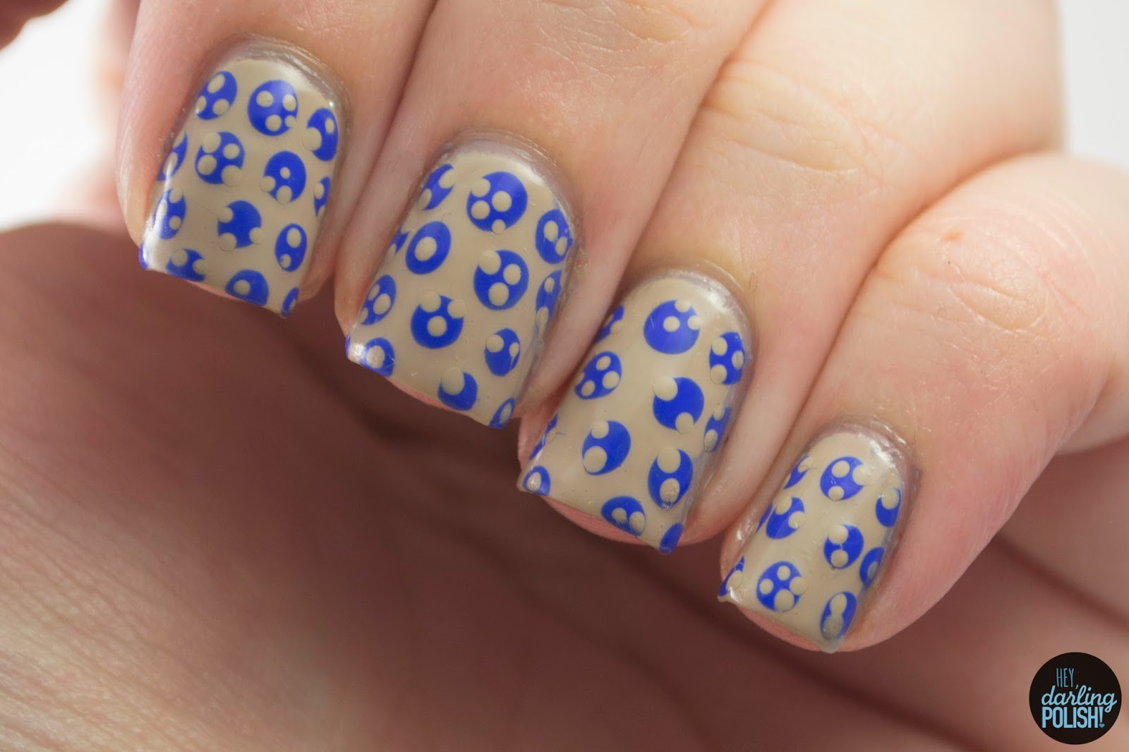 nails, nail art, nail polish, polka dots, dots, blue, neutral, pattern, hey darling polish