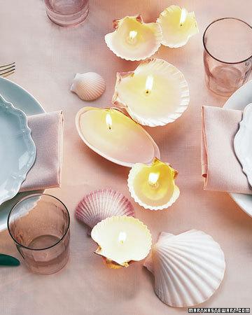 velas hechas con conchas