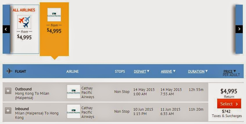 國泰航空 - 香港直航往返 米蘭 $4,995起 (連稅$5,735)