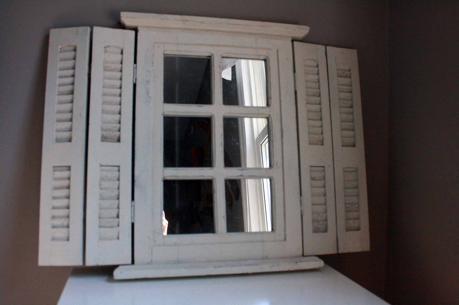 Window panes window pane mirror with shutters for 2 pane window