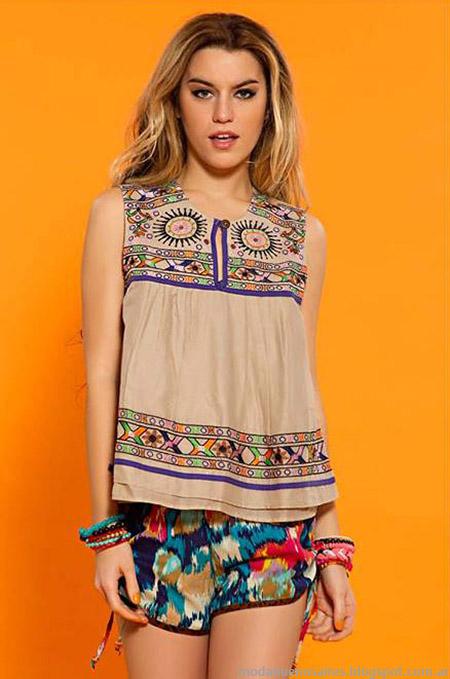 Moda verano 2015 Sophya shorts, tunicas, musculosas y remeras de moda.