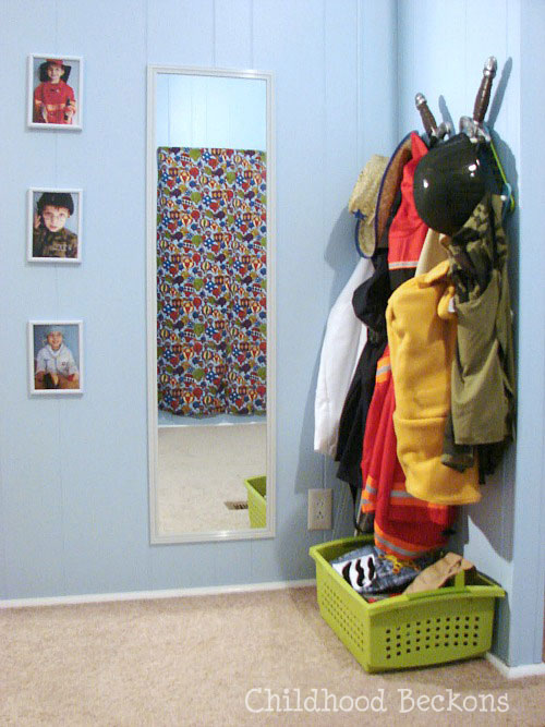 making a dress up area for kids