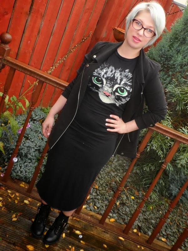 Cat Maxi Dress, Oversized Biker Jacket and Ankle Boots