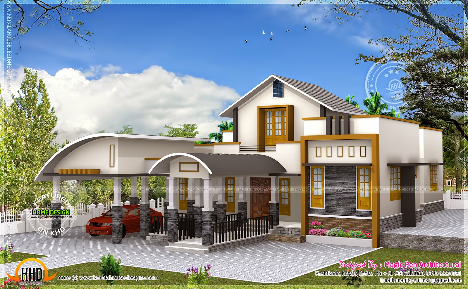 Unique one floor home kerala home design and floor plans for Unique farmhouse plans
