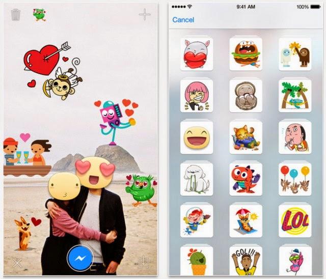 Stickered for Messenger تطبيق فيسبوك لإضافة الملصقات على الصور للأيفون