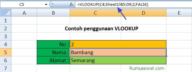 Contoh VLOOKUP dengan data beda Sheet