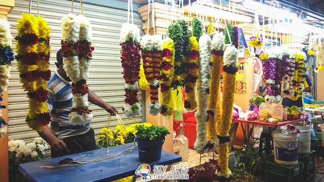 Colorful flower garlands @ Little India Brickfields KL