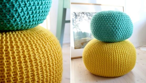 kit tricot pouf