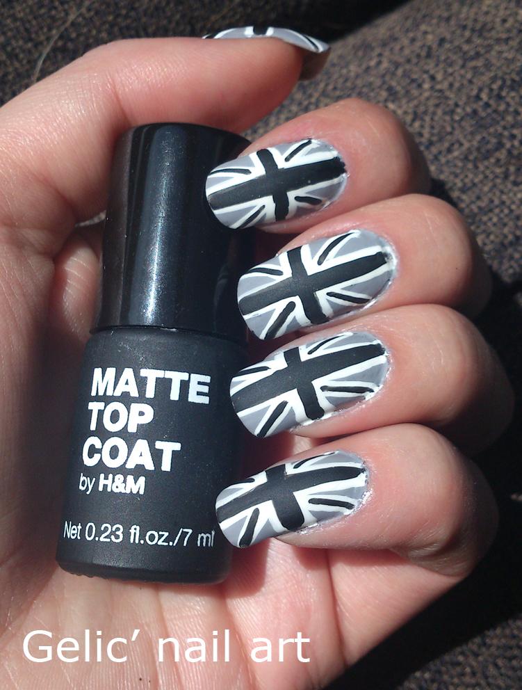Gelic\' nail art: Gray union jack nail art