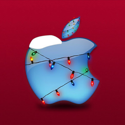Christmas lights, Apple logo download free wallpapers for Apple iPad