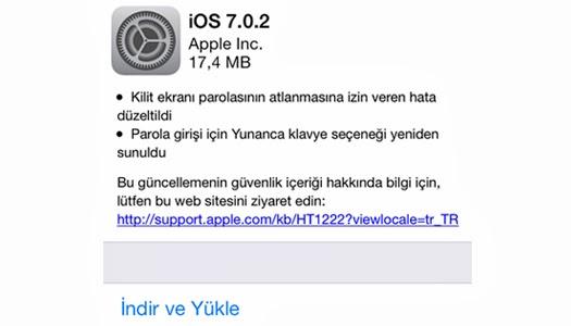 ios 7.0.2 güncellemesi