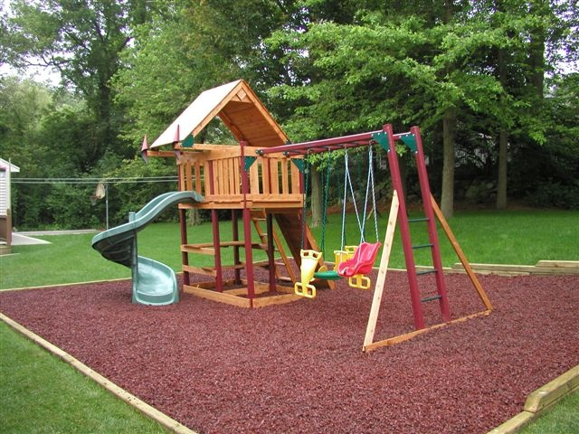 Xeriscaping and custom residential landscaping rubber for Tire play structure
