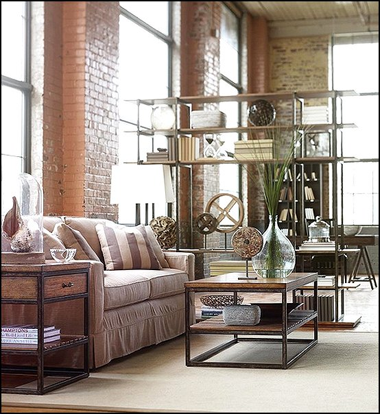 Decorating theme bedrooms maries manor industrial style for Industrial chic living room