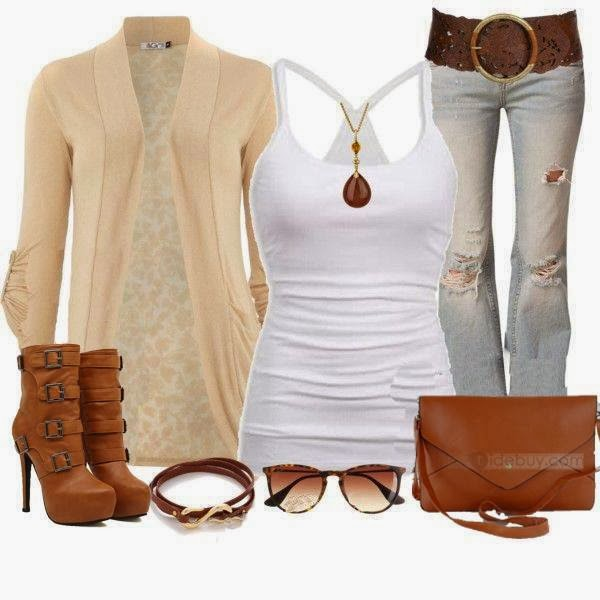 Warm creamy cardigan, white blouse, ripped jeans, high heel brown shoes and handbag for fall
