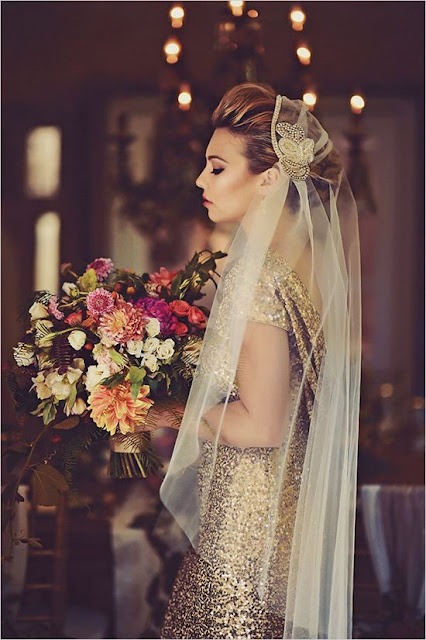 Golden sequin evening dress with bridal veil for a glamorous bride