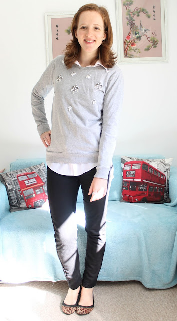 OOTD Fashion Blogger Sweatshirt Shirt Coatagain ASOS F&F M&S New Look