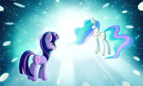 Twilight Sparkle ascends to a celestial plane to find a congratulating Princess Celestia