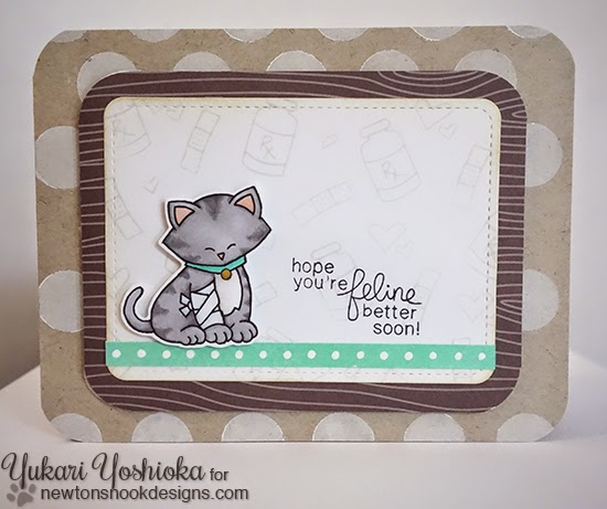 Get Well Cat card by Yukari Yoshioka | Newton's Sick Day Stamp set by Newton's Nook Designs