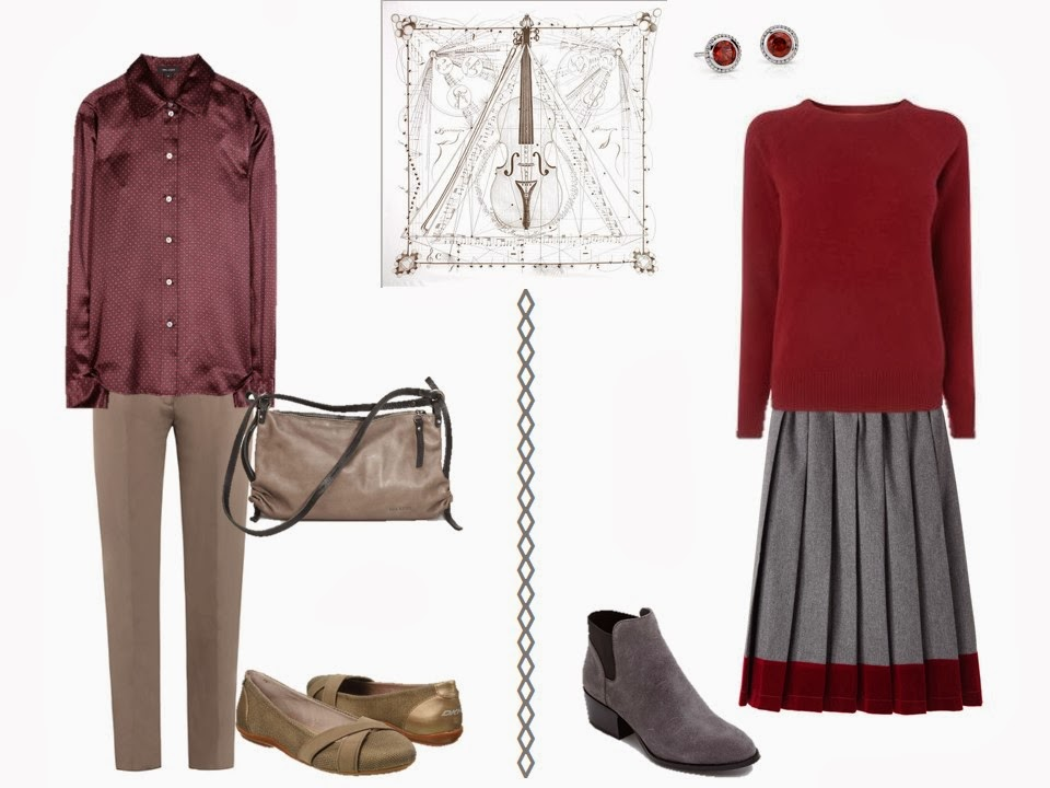 two outfits including maroon to wear with Hermes Musique des Spheres